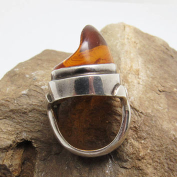 Sterling Amber Modernist Ring Vintage Abstract Jewelry R7769