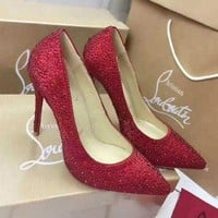 CL Christian Louboutin Trending Ladies Elegant Heels Shoes Red I