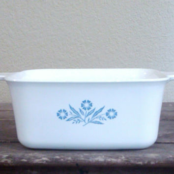 Corning Ware Cornflower Blue 1 1/2 Qt. Rectangle Casserole Dish, P-4-B, Vintage Kitchenware