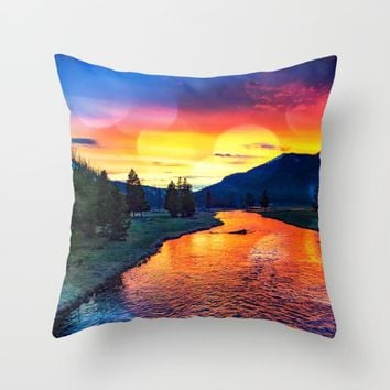 Sunset at Yellowstone Throw Pillow by minx267