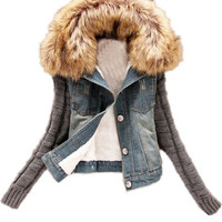 Knitted Long Sleeve Fur Collar Denim Jacket