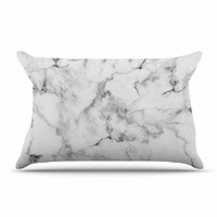 "Kess Original ""White Marble"" Gray White Pillow Case"