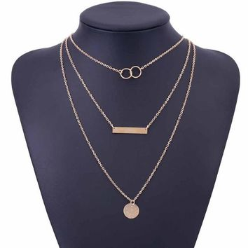 Layered Gold Silver Choker Necklace For Women Charm Long Square Multilayer Loos Y Necklace Gift