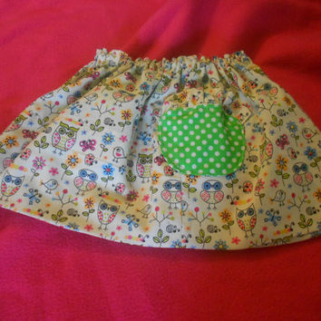 Pink and Green owl skirt, Green Polka dot skirt, Reversible skirt