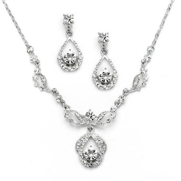 Vintage Glamour Austrian Crystal Necklace and Earrings Set - Antique Silver Plating Platinum