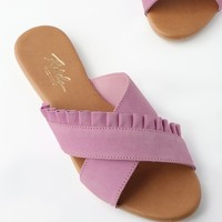 Daray Lilac Leather Slide Sandals