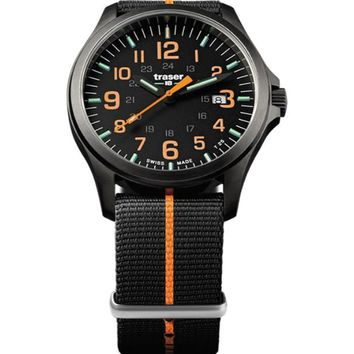 P67 Officer Pro Gunmetal Black /Orange Nato 107425 Men'S Swiss Watch Pvd Coated