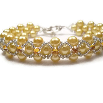 Gold Pearl Montee Bridal Bracelet Wedding Bracelet