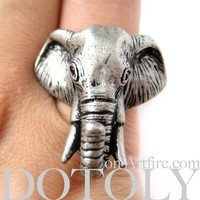 NEW Realistic Detailed 3D Adjustable Elephant Animal Ring in Silver
