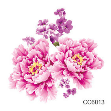 CC6013 6X6cm Little Cheapest Color Flower Peony Designer Temporary Tattoo Sticker Body Art Water Transfer Fake Taty for Face
