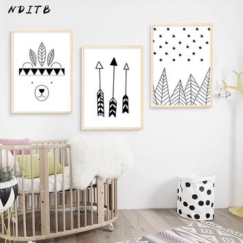 NDITB Black White Tribe Woodland Bear Poster Cartoon Wall Art Canvas Nursery Print Painting Nordic Picture Kids Bedroom Decor