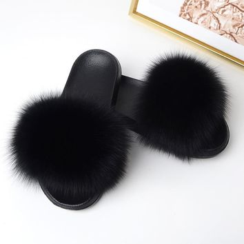 Real Fox Hair Slippers Women Fur Home Fluffy Sliders Winter Plush Furry Summer Flats Sweet Ladies Shoes Large Size 45 Pantufas 1 2