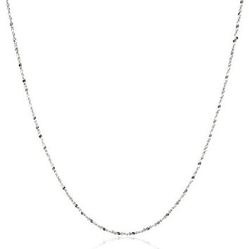 """Sterling Silver 1.2mm Twisted Serpentine Chain Necklace, 20"""""""