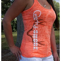 Burnout Orange Deer Antlers Tank Top