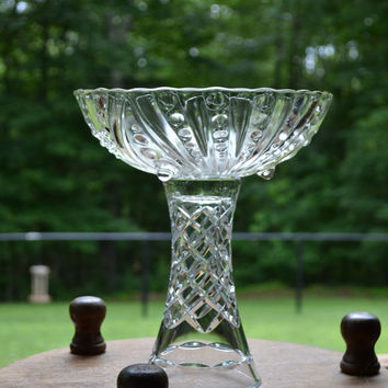 Upcycled Cake Stand Clear Glass Compote Cupcake Stand Cake Plate Food Display Wedding Littlestsister