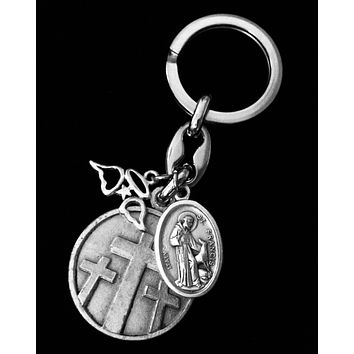 Memorial Key Chain Saint Francis Saint Anthony FOB Keychain Medal Silver Key Ring Gift Inspirational Jewelry Angel Wings A Tear Lost But Never Forgotten