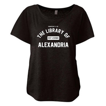 Property of The Library of Alexandria - Women's Flowy Triblend Vintage Dolman