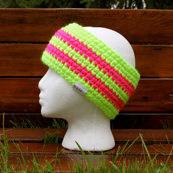 Neon Ear Warmer Headband, Retro + Made in Canada  - Thick, Warm, Crochet Winter Hat, Awesome :)