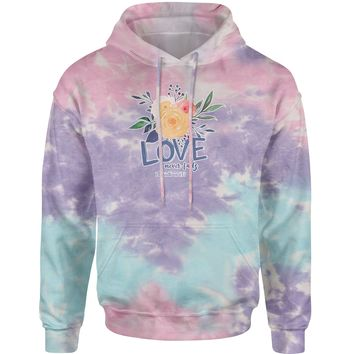 Love Never Fails Corinthians Bible Quote Tie-Dye Adult Hoodie Sweatshirt
