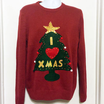 Christmas Sweater, Ugly Christmas Sweater, Grinch Sweater, Christmas Tree, Ugly Sweater Party, Red Sweater, Large, Item #15