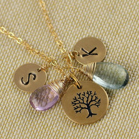 Family Tree Necklace, Personalized Monogram Initial Necklace, Two Birthstone, Birthday Gift, Mother Necklace, Anniversary Gift, Gemstone