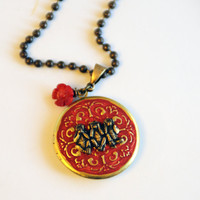Year of the Monkey 2016 Chinese New Year Locket, Asian Inspired Jewelry Monkey Necklace, Speak No Evil See No Evil Hear No Evil Locket SRAJD