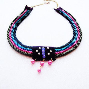 Black, Green, Pink, Blue, Nautical Sailor's Knot Rope Infinity Necklace, Bip  New Season Summer Accessory