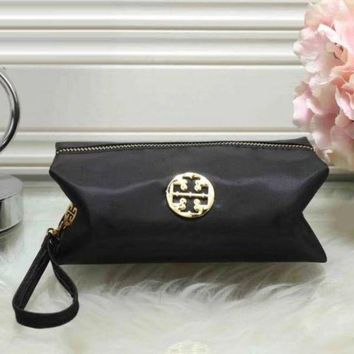 Tory Burch Women Trending Fashion Contracted Leather Zipper Wallet Purse Black G
