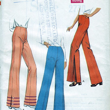 Unused Vintage Sewing Pattern - Style 2730 - Women's Flared Trousers / Pants Pattern Waist 27""