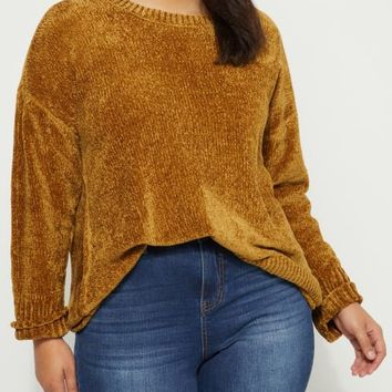 Plus Mustard Chenille Knit Sweater