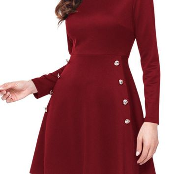 Chic Button Side Detail Burgundy Long Sleeve Military Skater Dress