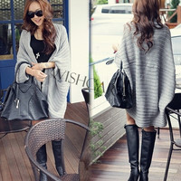 Lady Batwing Loose Sweater Coat Knitting Long Cardigan Shawl Outwear 17626 = 1920184132