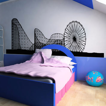 Ferris Wheel and Roller Coaster Wall Decal Design. #OS_AA1051