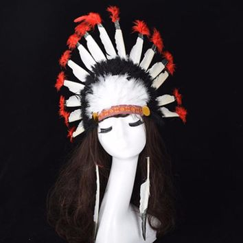 Indian Chief Feather Headdress Hats Native American Headdress Indian Feather Costumes War Bonnet Hat Indian Headdress Cap