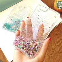 Glitter Rhinestone Quiksand Liquid Case for iPhone 6 Cases Luxury 5 5s 6 6s Plus Coque TPU for iPhone 7 Case 7 Plus Cases O30