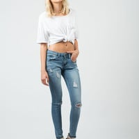 Cropped Distressed Skinny Jeans