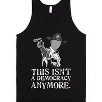 Walking Dead Rick Grimes democracy-Unisex Black Tank