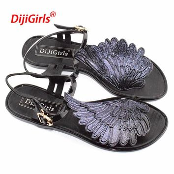 2018 summer fashion Jelly sandals women shoes female fashion flat flip wings personalized flip flops sandals Gladiator Shoes