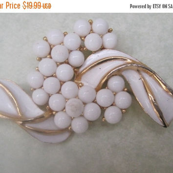 "55% STORE WIDE SALE  ""Crown Trifari"" White  And Gold Brooch, Cluster Brooch, Signed Piece (see note in description)"