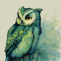 Green Owl Art Print by Teagan White | Society6