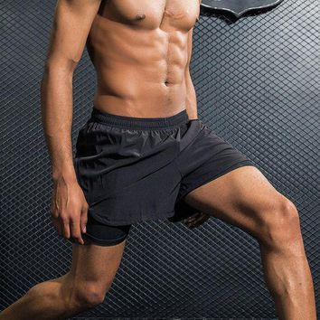 Mens Shorts 2 In 1 Breathable Elastic Running Shorts With Compression Black Boxer Lining Inside Fitness Gym Table Tennis Shorts