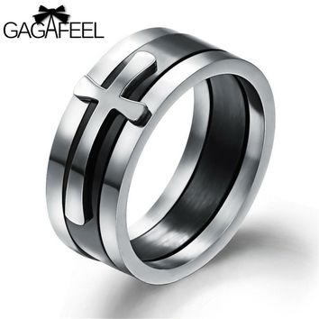 GAGAFEEL Ring For Men Male Punk Jewelry Titanium Stainless Steel Cross Finger Rings High Quality Gifts OR450