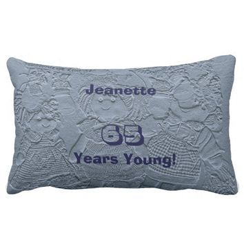 65 Years Young Silver Blue Doll Comfortable Lumbar Lumbar Pillow
