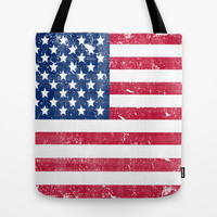 Vintage USA Flag Tote Bag by RexLambo