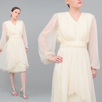 70s 80s Ivory Dress Sheer Chiffon Blouson Poet Sleeve Boho Wedding 1970s Party Dress Cream Midi Dress Small Medium S M