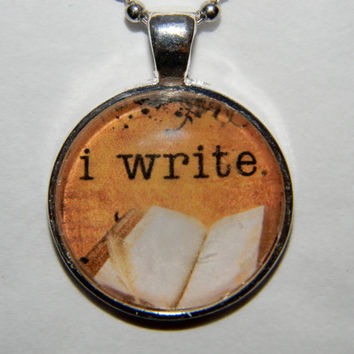 I Write Writer's Necklace Book Geek Necklace by EvangelinasCloset
