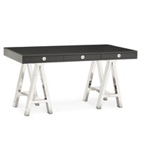Mason Wood Top Desk, Ebony