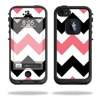 MightySkins Protective Vinyl Skin Decal Cover for LifeProof iPhone 5 / 5S Case fre Case Sticker Skins Black Pink Chevron