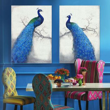 Canvas Prints Wall Painting Home Decor Modern Animal Wall Art Painting Peacock Unframed Modern Vintage Blue Peacock  Branch