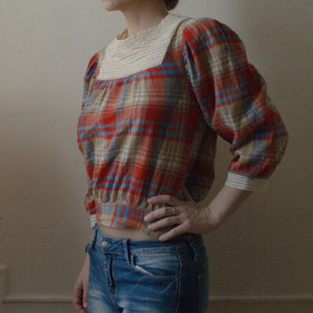 Divided By H&M Plaid Cotton Crepe Back Buttoning Lace Bib Country Farmgirl Peasant Blouse Top